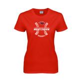 Ladies Red T Shirt-Red Lions Baseball w/ Seams