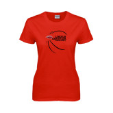 Ladies Red T Shirt-Lincoln Christian Basketball w/ Contour Lines
