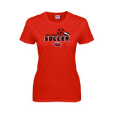 Ladies Red T Shirt-Red Lions Soccer Swoosh