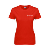 Ladies Red T Shirt-University Logo - Flat
