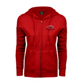 ENZA Ladies Red Fleece Full Zip Hoodie-Red Lions Stacked