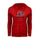 ENZA Ladies Red Fleece Full Zip Hoodie-Red Lions Logo