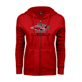 ENZA Ladies Red Fleece Full Zip Hoodie-Combination Mark