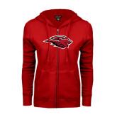 ENZA Ladies Red Fleece Full Zip Hoodie-Lion Head