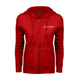 ENZA Ladies Red Fleece Full Zip Hoodie-University Logo - Flat