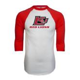 White/Red Raglan Baseball T-Shirt-Red Lions Logo