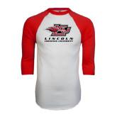 White/Red Raglan Baseball T-Shirt-Combination Mark