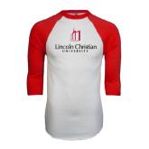 White/Red Raglan Baseball T-Shirt-University Logo