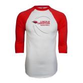 White/Red Raglan Baseball T-Shirt-Lincoln Christian Basketball w/ Contour Lines