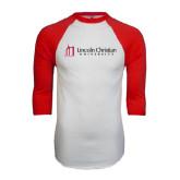 White/Red Raglan Baseball T-Shirt-University Logo - Flat