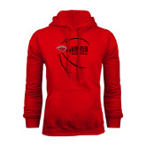 Red Fleece Hoodie-Lincoln Christian Basketball w/ Contour Lines