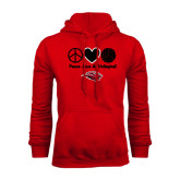 Red Fleece Hoodie-Peace Love & Volleyball