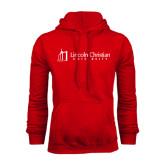 Red Fleece Hoodie-University Logo - Flat
