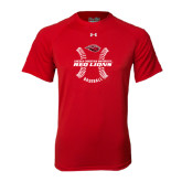 Under Armour Red Tech Tee-Red Lions Baseball w/ Seams