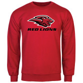 Red Fleece Crew-Red Lions Stacked