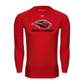 Under Armour Red Long Sleeve Tech Tee-Red Lions Stacked