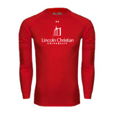 Under Armour Red Long Sleeve Tech Tee-University Logo