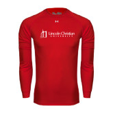 Under Armour Red Long Sleeve Tech Tee-University Logo - Flat