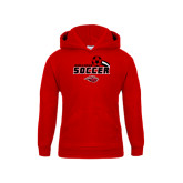 Youth Red Fleece Hoodie-Red Lions Soccer Swoosh