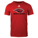 Adidas Red Logo T Shirt-Red Lions Stacked
