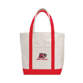 Contender White/Red Canvas Tote-Red Lions Logo