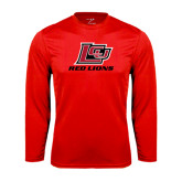 Syntrel Performance Red Longsleeve Shirt-Red Lions Logo