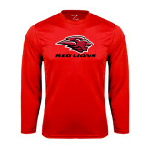 Performance Red Longsleeve Shirt-Red Lions Stacked