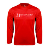 Performance Red Longsleeve Shirt-University Logo - Flat
