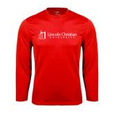 Syntrel Performance Red Longsleeve Shirt-University Logo - Flat