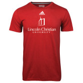Adidas Climalite Red Ultimate Performance Tee-University Logo