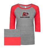 ENZA Ladies Athletic Heather/Red Vintage Triblend Baseball Tee-Red Lions Logo
