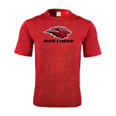 Performance Red Heather Contender Tee-Red Lions Stacked