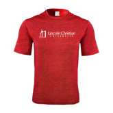 Performance Red Heather Contender Tee-University Logo - Flat