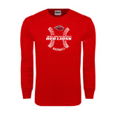 Red Long Sleeve T Shirt-Red Lions Baseball w/ Seams