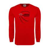Red Long Sleeve T Shirt-Lincoln Christian Basketball w/ Contour Lines