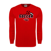 Red Long Sleeve T Shirt-Red Lions Soccer Swoosh