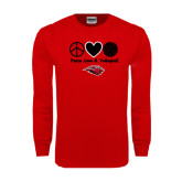 Red Long Sleeve T Shirt-Peace Love & Volleyball