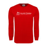 Red Long Sleeve T Shirt-University Logo - Flat