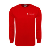 Red Long Sleeve T Shirt-University Logo - Flat