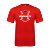 Performance Red Tee-Red Lions Baseball w/ Seams