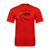 Performance Red Tee-Lincoln Christian Basketball w/ Contour Lines