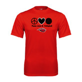 Performance Red Tee-Peace Love & Volleyball