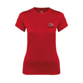 Ladies Syntrel Performance Red Tee-Red Lions Logo