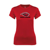 Ladies Syntrel Performance Red Tee-Red Lions Stacked