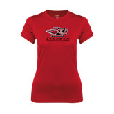 Ladies Syntrel Performance Red Tee-Combination Mark