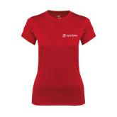 Ladies Syntrel Performance Red Tee-University Logo - Flat