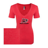 Next Level Ladies Vintage Red Tri Blend V-Neck Tee-Red Lions Logo