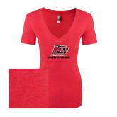 Next Level Ladies Vintage Red Tri Blend V-Neck Tee-Red Lions Logo