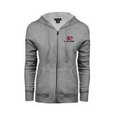 ENZA Ladies Grey Fleece Full Zip Hoodie-Red Lions Logo