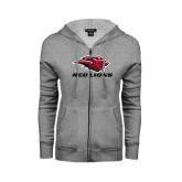 ENZA Ladies Grey Fleece Full Zip Hoodie-Red Lions Stacked
